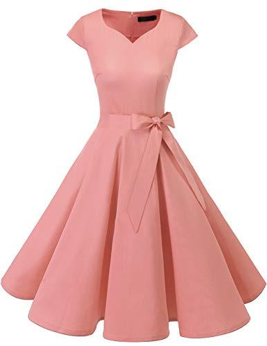 Dresstells Damen 50er Vintage Retro Cap Sleeves Rockabilly Kleider Hepburn Stil Cocktailkleider Blush M (Kleider Rosa Für Frauen)
