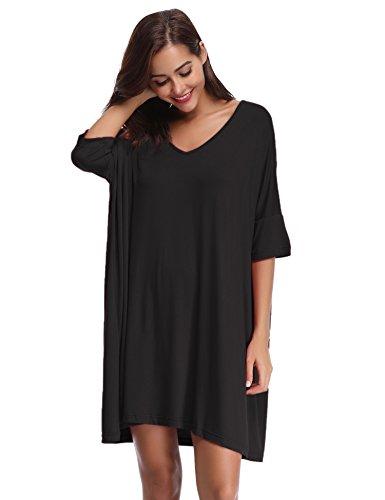 Aibrou Damen Nachthemd Nachtkleid Kurz Sommer Nachtwäsche Negligee Umstandskleid Stillnachthemd Sleepshirt aus Modal Schwarz XL