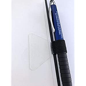 2 Stück - Selbstklebende Stiftschlaufe für Notizbücher (schwarze Schlaufe, transparentes Klebepad)