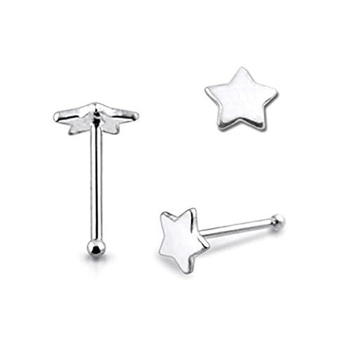 Piercing-Schmuck 20 Stück einfache flache Star 22 Gauge - 6MM Länge Sterling Silber Ball End Nose Stud