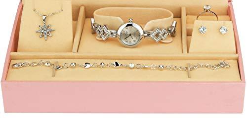 Geschenkset Damen Armbanduhr Silber- Schmuck Set- Halskette-Ring- Ohrringe - Armband