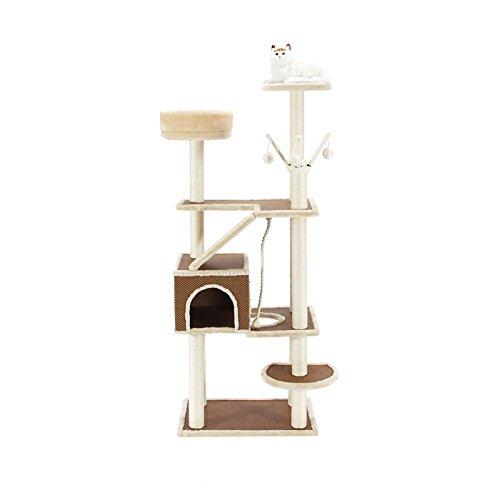 YIXIN Katze Spiel Baum Und Turm Klettern Rahmen Qualität Platte Sisal Seil Licht Braun + Weiß 60 * 42 * 152cm
