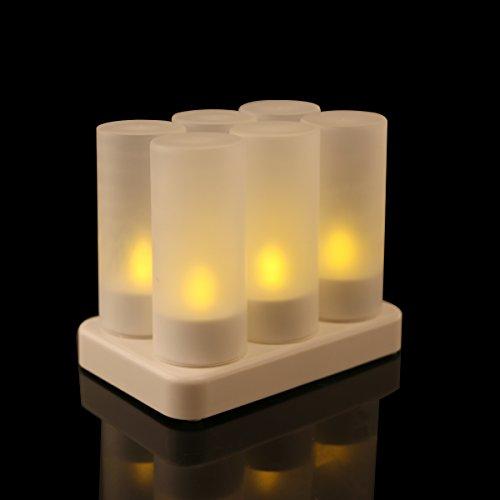 LEORX Parpadeo LED recargable té sin llama del LED 6 vela de la luz con cargador para Navidad fecha de la boda