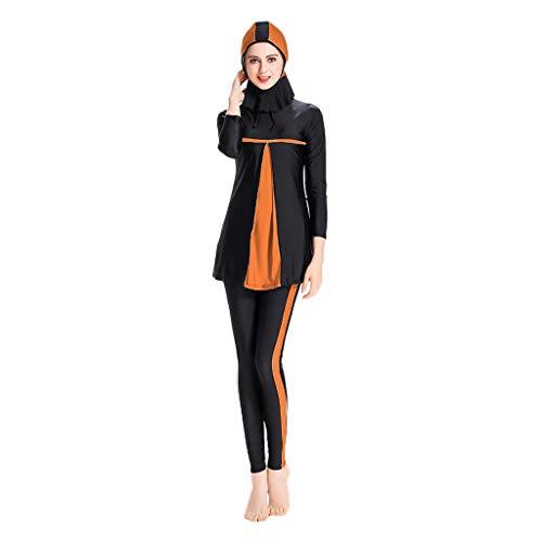 Lazzboy Frauen Muslimischen Badeanzug Mit Cap Printing Beachwear Bademode Muslimische Damen, Hijab-Schwimmanzug, Badeanzug, Sportkleidung(Orange,4XL)