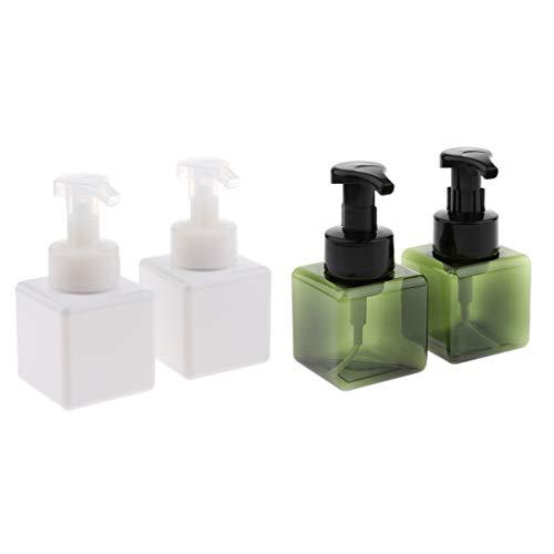 Rosa Schäumende Seife (Hellery 4pcs Leerer Schaumspender Pumpflasche Gesichtsreinigungsbehälter 250ml - Weiß + Dunkelgrün)