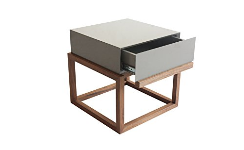 designement Wacim Table D'appoint Laqué Gris 39.6 x 39.6 x 40.5 cm