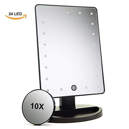 ADOV Kosmetikspiegel Beleuchtet, 24 LED Beleuchteter Kosmetik Tischspiegel Schminkspiegel mit 10fach Vergrößerungsglas, Einstellbarer Touchscreen, USB Wiederaufladbarer und 180° Drehbarer- Schwarz