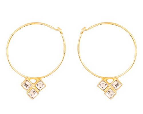 Touchstone Indian Bollywood traditional and modern thin wire hoop bali designer Kundan polki jewelry earrings for women in gold tone.  available at amazon for Rs.279