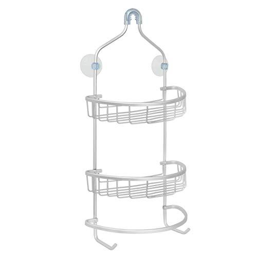 Mensola doccia portaoggetti - accessori, sapone, flaconi | appendino con gancio da appendere al soffione o alla colonna, in alluminio | rotonda - 28x14.5x63 cm