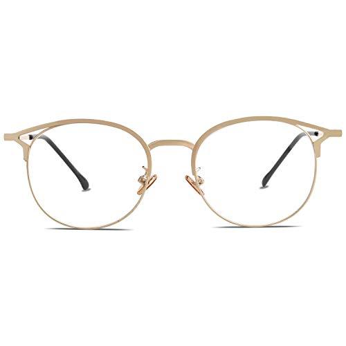 Sojos montatura occhiali da vista donna vintage occhiali per computer anti luce blu cateye rotondi anti-affaticamento antiriflesso sj5035 oasis con oro telaio/bordo oro
