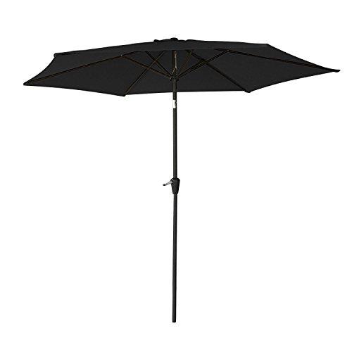 Happy Garden Parasol Droit HAPUNA Rond 2,70m de diamètre Noir