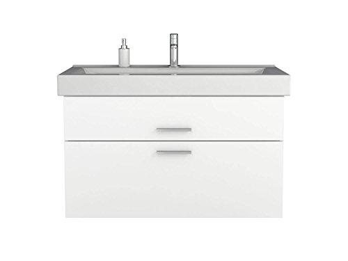 Waschtischunterschrank 100 / 80 / 60 cm breit Hochglanz Weiß Waschbeckenunterschrank Unterschrank Badmöbel-Set hängend Sieper Girona (100 breite)