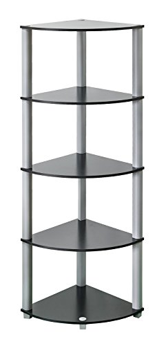 5 Tier-ecke Bücherregal (Ecke Regal Aufbewahrung Bücherregal Display Einheit mit 5Etagen Holz Regal schwarz)