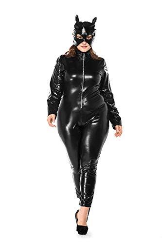 Gyh sexy donna wet look catwoman pelle verniciata bodysuit cosplay halloween costume,xxxl