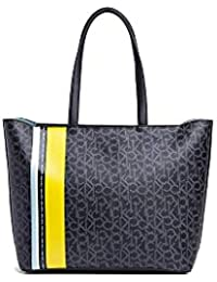 54e28fb820 Calvin Klein Monogram Ew Shopper Str - Borse Tote Donna, Nero (Black  Mono/Lime), 15x32x36 cm (B…