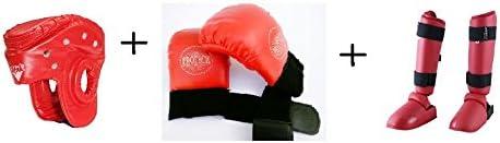 ARFA Unisex PU Leather Aaina Craft Combo of Karate Safety Kit Helmet, Gloves and Shin Guard, Full Size