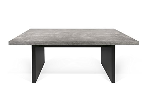Temahome detroit tavolo da pranzo, legno, effetto cemento/nero, 160x80x72 cm