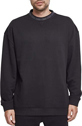 Urban Classics Herren Oversize Logo Crew Sweatshirt, Schwarz (Black 00007), S Long Sleeve Terry Sweatshirt