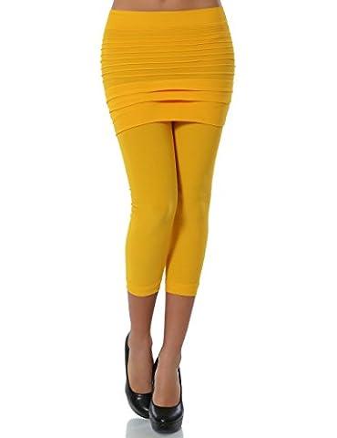 Damen Leggings mit Mini Rock (Capri) No 13607, Farbe:Gelb;Größe:One Size