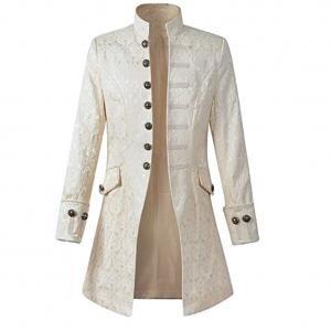 Kostüm Uniform Herren - Skyshop Punk Jacke Steampunk Gothic Langarm Jacke Retro Mittellang Mantel Kostüm Cosplay Uniform Herren Weiß XL