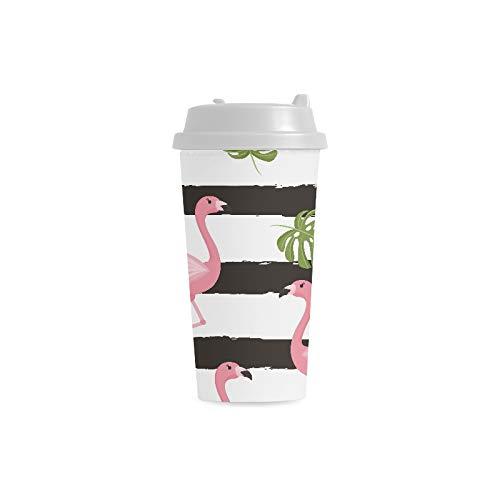 sa kühles niedliches Flamingo kundenspezifisches personalisiertes Drucken 16 Unze doppelwandiger Plastikisolierkunst Wasser Flaschen Schalen Pendler Reise Kaffeetassen Studenten ()