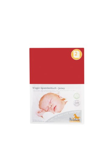 Pinolino 540004-5D Doppelpack - Spannbetttuch für Wiegen rot - Bettbezug Rot