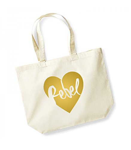 Rebel Heart - Large Canvas Fun Slogan Tote Bag Natural/Gold