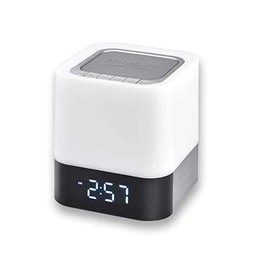 Mr. Fragile LED-Nachtlicht,Drahtloser Bluetooth-Lautsprecher mit Touch-Steuerung, Wecker, MP3-Player, tragbarer intelligenter Berührungssensor-Tischlampe Dimmable RGB LED-Nachtlicht (Mp3-wellness-musik)