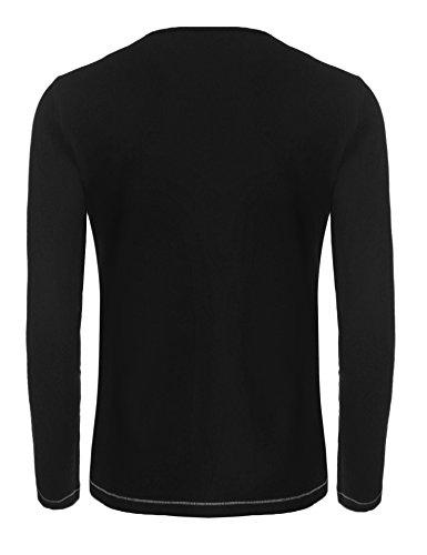 Burlady Tshirt Henleyshirt Langarmshirt mit Knopf Basic Longsleeve Shirt mit Henley Ausschnitt Herren 2 in 1 Sport Langarm Shirts Freizeit Männer Schwarz