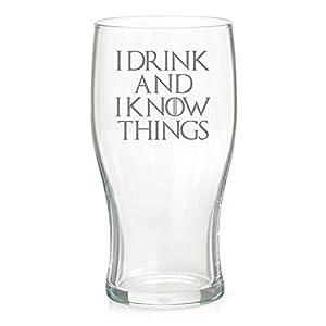Derwent Laser Craft 00896 Vaso de Pinta Inspirado en Game of Thrones con Texto I Drink and I Know Things, Cristal 2