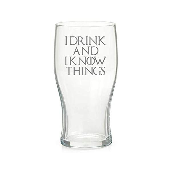 Derwent Laser Craft 00896 Vaso de Pinta Inspirado en Game of Thrones con Texto I Drink and I Know Things, Cristal 1