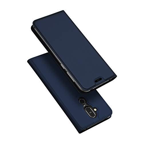 DUX DUCIS Hülle für Nokia 8.1,Ultra Dünn Flip Folio Handyhülle mit [Magnet,Standfunktion,1 Kartenfach] (Skin Pro Series) (Blau)