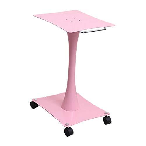 Medizinischer Wagen 2-Tier-Schönheitssalon-Rollwagen, SPA-Tattoo-Trolley aus Metall, pink mit Handlauf und Rad, Traglast 100 kg