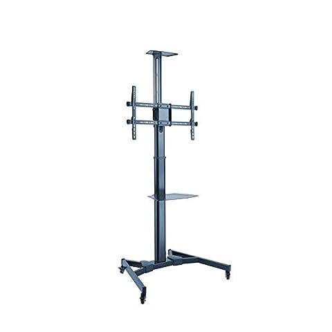 KIMEX 030-1200 Support mobile pour écran TV LCD LED 37''-70'' avec 2 étagères, Hauteur réglable 120-160 cm
