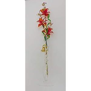 Glasblume tolle Blume aus hellrot mit Vase Qualität