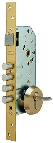 Tesa Assa Abloy, R100B566E, Cerradura Monopunto de Seguridad para Puertas de Madera, Acero Esmaltado