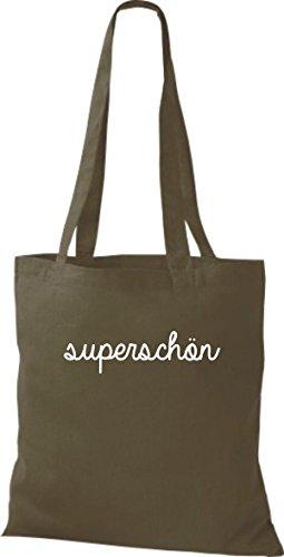 ShirtInStyle Stoffbeutel, Baumwolltasche, Shopper lustiger Typo Spruch superschön olive
