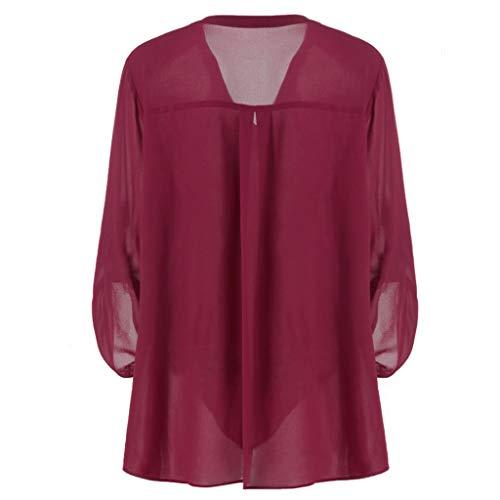NPRADLA 2019 Damen Plus Größe V Ausschnitt Verstellbare Ärmel Chiffon Solide Bluse Top Shirt(Weinrot,5XL/48) (Arabische Kostüm Plus Größe)