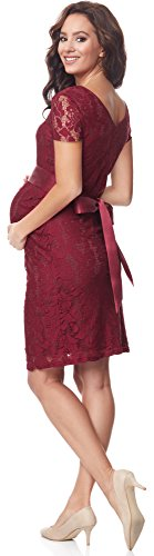 Bellivalini Damen Umstandskleid Kurze Ärmel Schwangerschaftskleid BLV50-110 (Weinrot) - 2