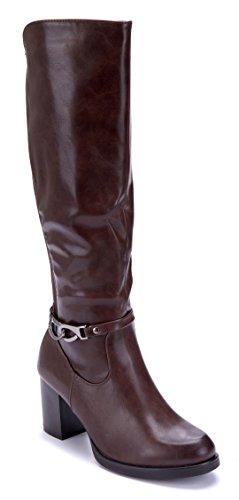 Schuhtempel24 Damen Schuhe Klassische Stiefel Stiefeletten Boots Braun Blockabsatz 7 cm