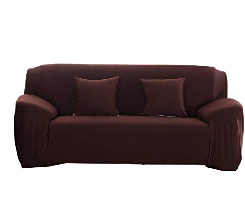 MeOkey Sofa Überwürfe Sofabezug Stretch elastische Sofa Abdeckung Hussen für Sofa Dehnbaren Faltenfrei Sofa Überwurf Schutz Abdeckung für Sessel(Kaffee 3 Sitzer 175-220 cm) -