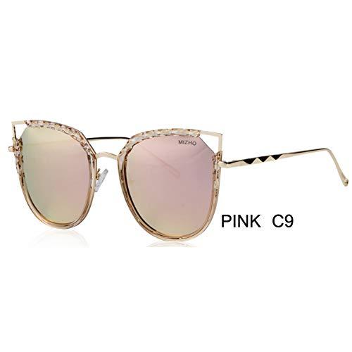 ZRTYJ Sonnenbrillen Marken-Glanz, Der Polarisierte Sonnenbrille Für Frauen-Katzenauge-Spiegel Reisende Farbige Sonnenbrillen Fährt