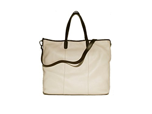 Borsa donna Vannini in vera pelle modello shopper beige