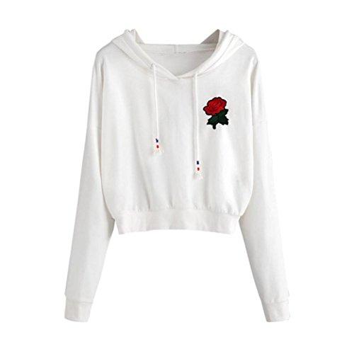 Rose Streifen Kurz Kapuzenpullis Damen Hemden Applikationen Tops Pulli Frauen Blusen Kapuzenpullover mit Kapuze Hemd Pullover Mantel Sweater Sweatshirts Mäntel Elecenty (Weiß, XL) (Rose Top Seide)