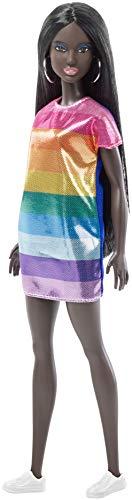 Barbie Fashionista, muñeca 32cm africana con vestido arcoiris (Mattel FJF50)