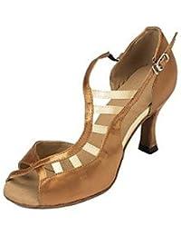 RUGAI-UE Women's Latin Seide Sandale Leistung Schnalle Cuban Heel Schwarz Lila Braun Schwarz/Rot 2   - 2 3/4 2...