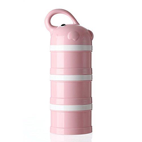Dispensador de Fórmula, Stackable Portable 3 compartimentos de leche en polvo dispensador y Snack Contenedor de Udaone-con mango y 3 tapas de embudo/360ML 0M+ (Rosa Elefante)