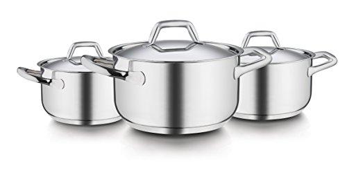 Barazzoni Chef Line Kochgeschirr-Set aus Edelstahl (6-teilig, Pfannen: 16, 20und 24cm, Deckel: 16, 20und 24cm)