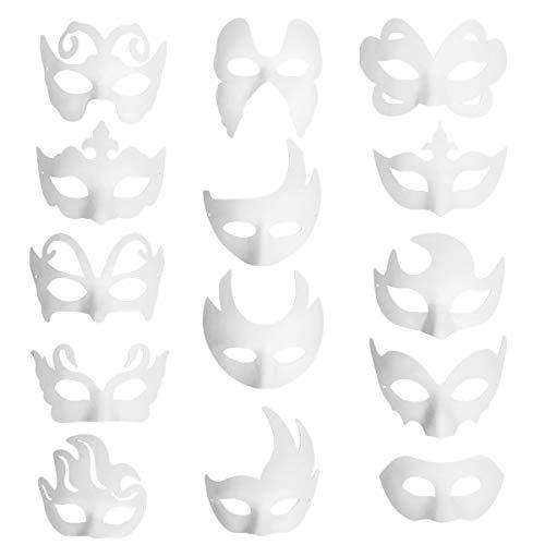 Funhoo 14 Pcs Leere Weiße Maske Papier Maskerade Halbmaske für DIY Bemalen Basteln Zeichnen Party Mitgebsel Halloween Kostüm Accessoires (Einfach Mardi-gras-kostüme Machen,)