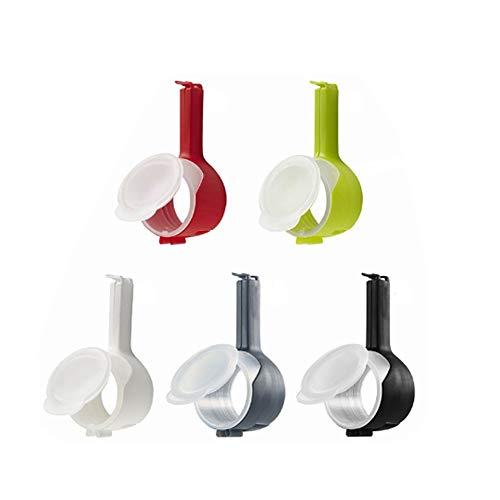 RAINBEAN Clip de sellado de bolsas dispensador para snacks preservación de comida con tapa para verter libre de BPA set de 5